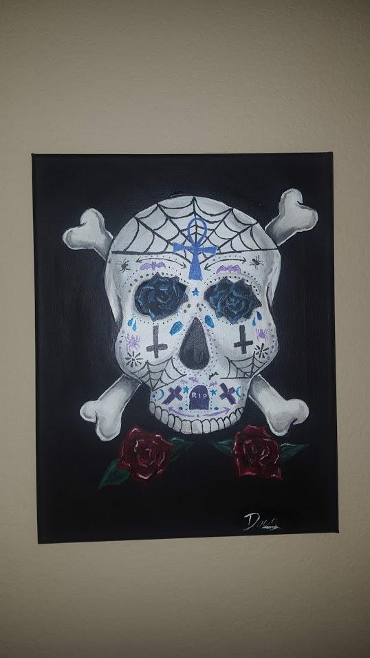 Gothic Sugar Skull Painting titled Vida de los muertos